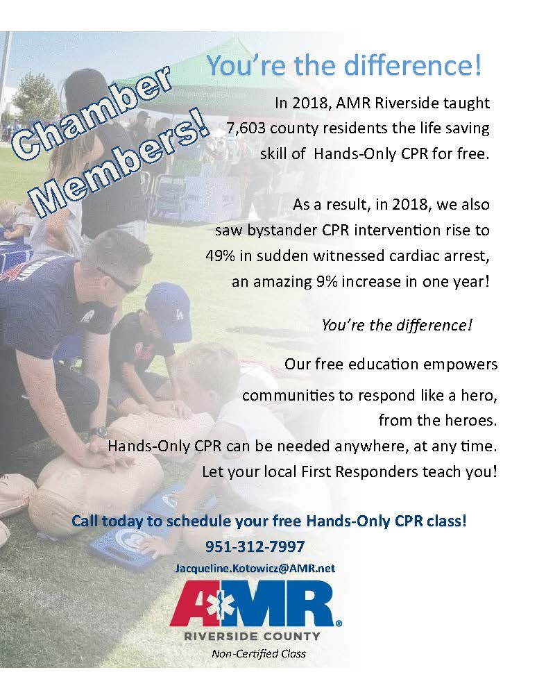 Amr Offers Free Mobile Hands Only Cpr Class Greater Coachella